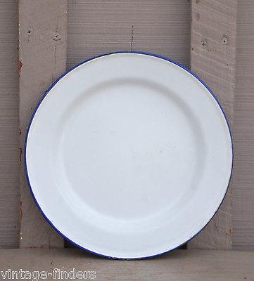Vintage Graniteware Enamelware Plate Primitive Kitchen Tool White Blue Trm 9-1/2