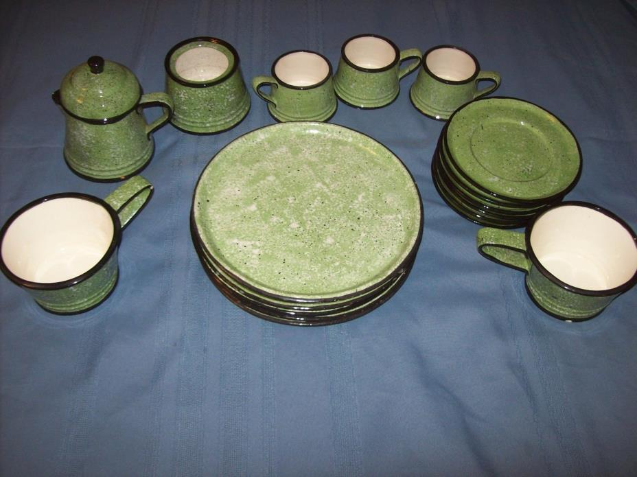 17 Pcs Green Enamel White Speckled Black Trim Ceramic Dishes