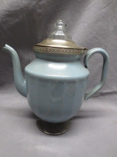 Antique Robin's Egg Blue Footed Graniteware Coffeepot