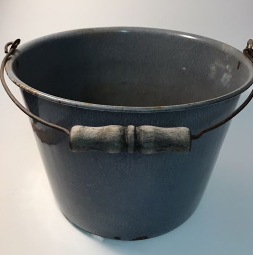 Graniteware Gray Soup Pail Bucket 8
