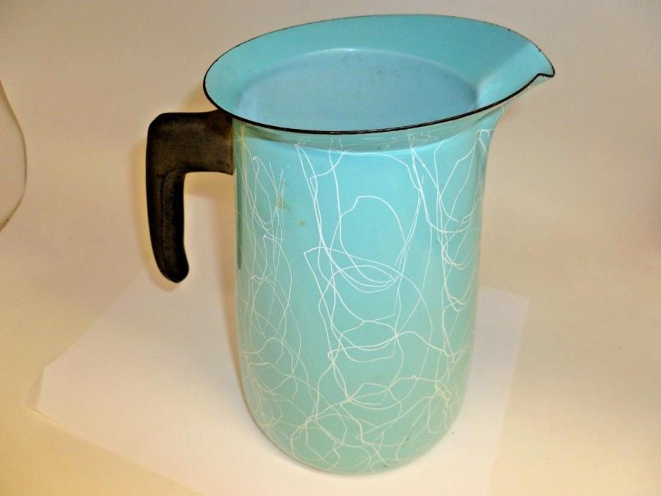 Vintage Robin's Egg Blue Enamel Pitcher String Pattern 8