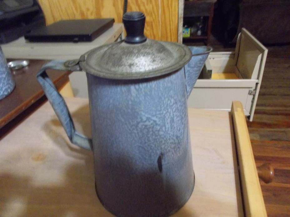 Vintage Antique Enamel Granite Ware Coffee Pot Grey Hinged Lid Large 9