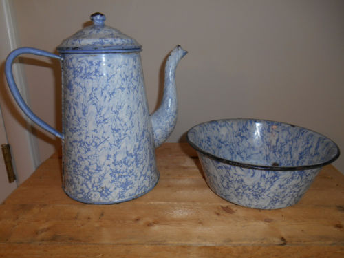 Antique Blue White Swirl Graniteware goose neck Coffee Pot & Bowl Vtg Primitive