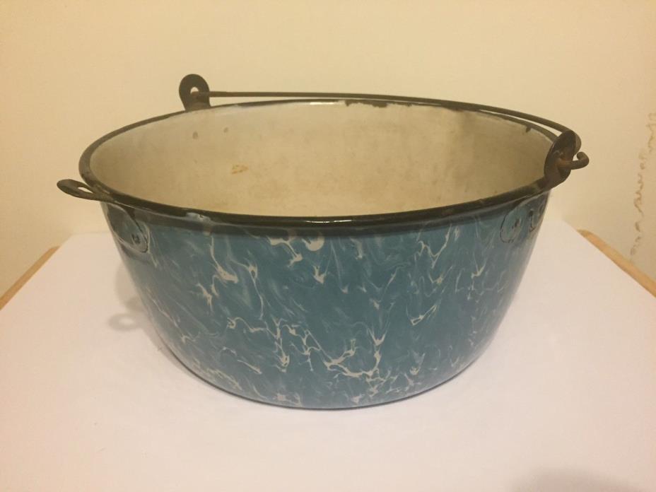 Huge Graniteware Light Blue/White Swirl Preserve Kettle Bail Handle 12