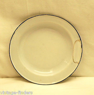 Vintage Graniteware Enamelware Dinner Plate White / Blue Primitive Kitchen Tool