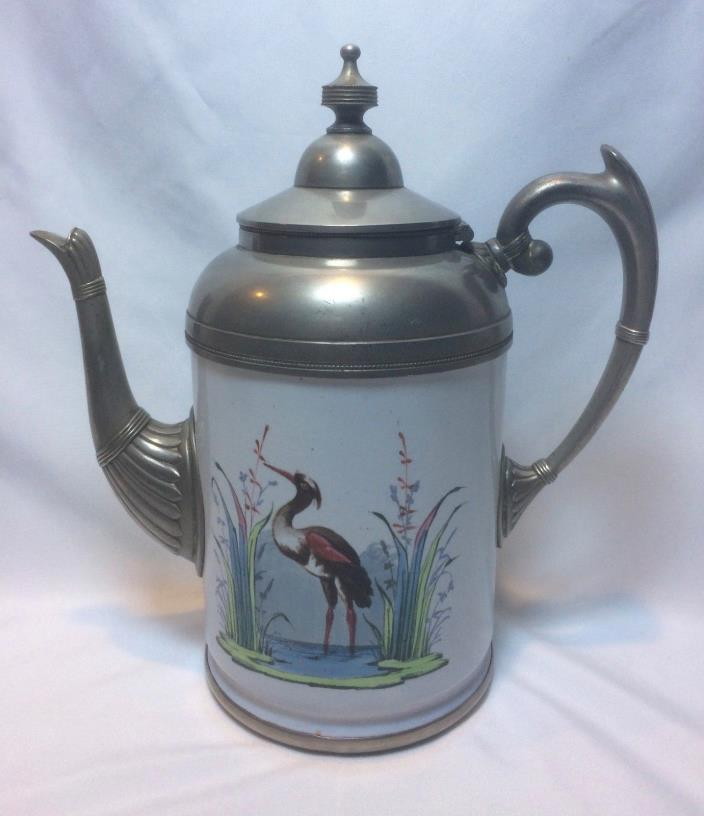 ANTIQUE PEWTER ENAMEL GRANITEWARE COFFEE TEAPOT HERON MARSH SCENE MANNING BOWMAN