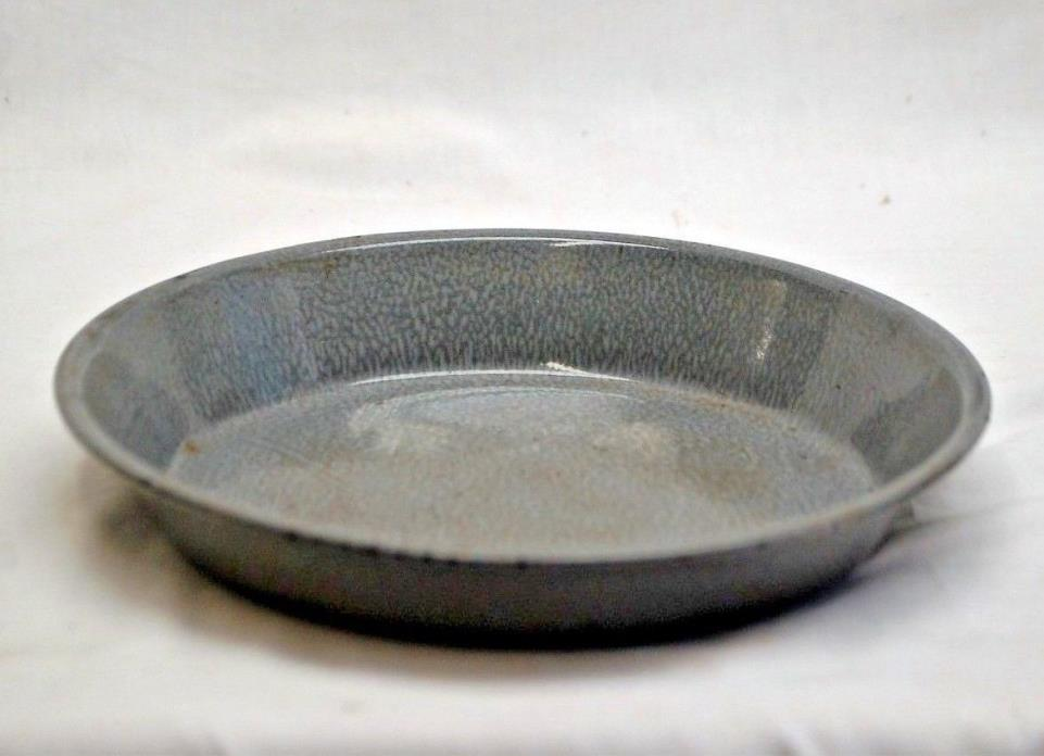 Vntage Graniteware Enamelware Pie Pan Plate Gray Splatter Primitive Kitchen Tool