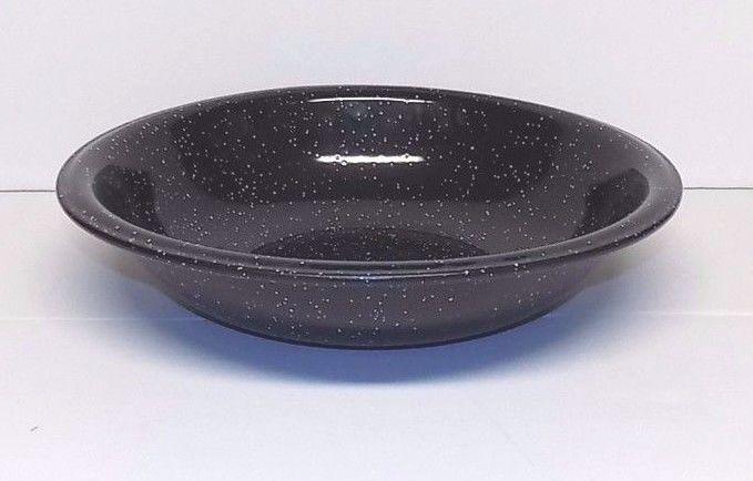 Large Black Speckled Enamel Graniteware Wash Garden Pan, 13 1/2
