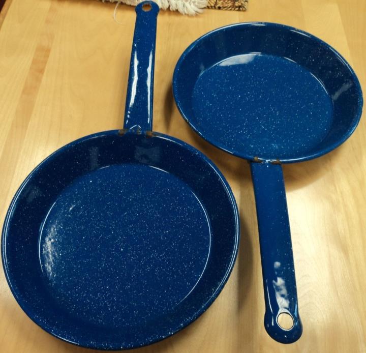 Vintage  Blue  Speckle  Graniteware 2 Frying  Pans &  Ladle