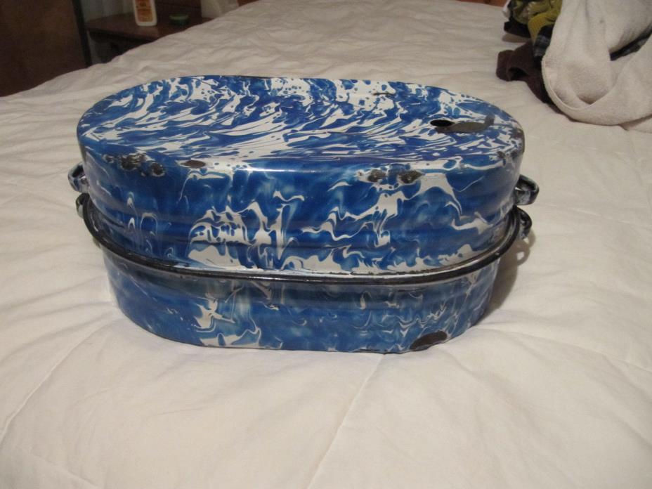 Antique Graniteware Enamelware Covered Roasting Pan Blue & White Swirl Vintage