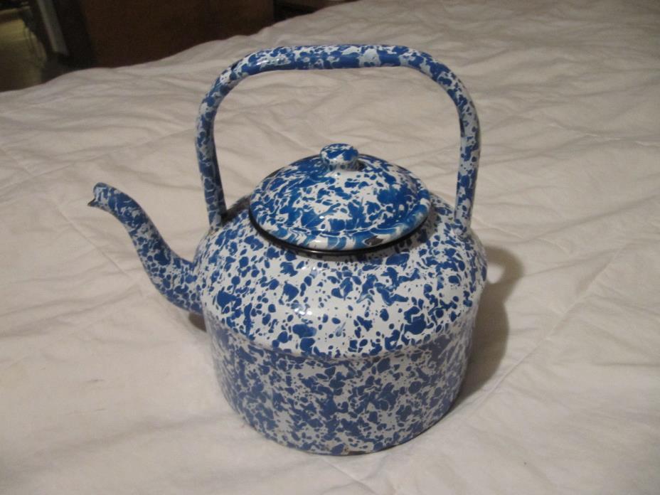 Antique Blue and White Swirl Graniteware Gooseneck Teapot  Tea Kettle