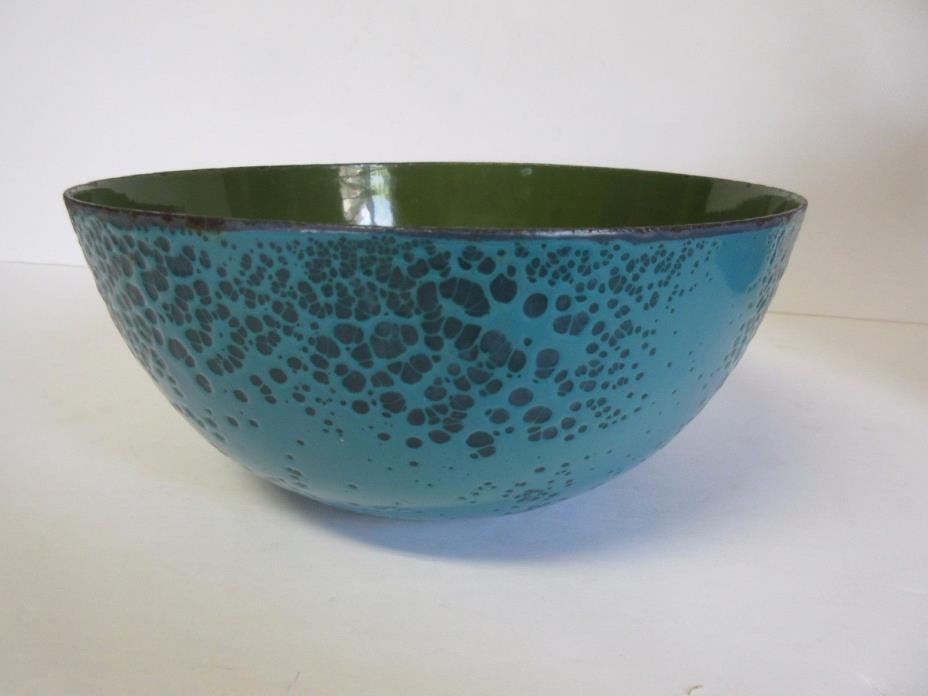 Porcelain Enamel Bowl Blue Green Vintage 8