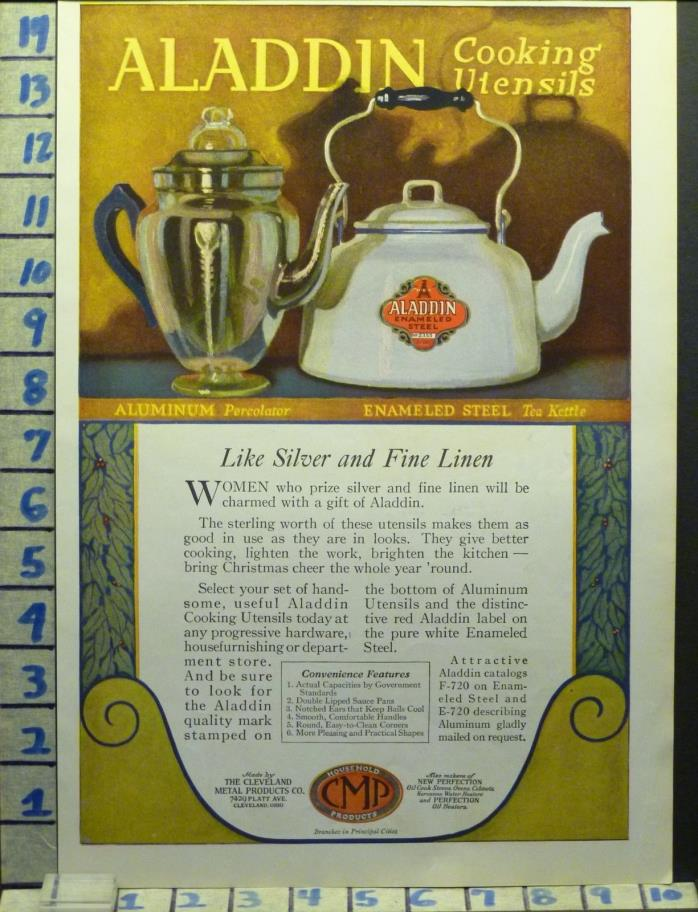 1920 ALADDIN COOK WEAR ALUMINUM ENAMEL COFFEE TEA HOME DECOR  AD  AI66