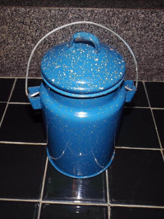 Vintage Enamelware Graniteware Covered Canister with Handle