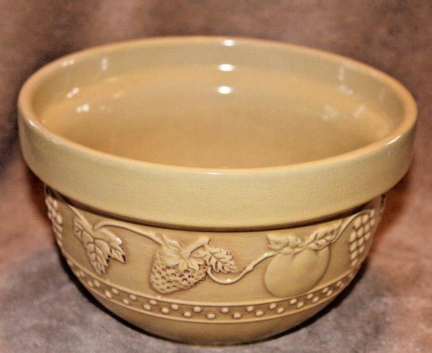 Yellow Ceramic Mixing/ Serving Bowl Grapevine Motif 7