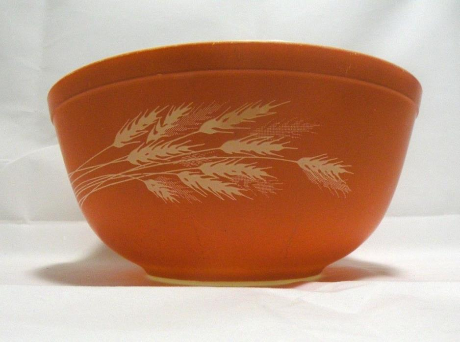 Pyrex Nesting Bowl Autumn Harvest Wheat Vintage Corning NY USA