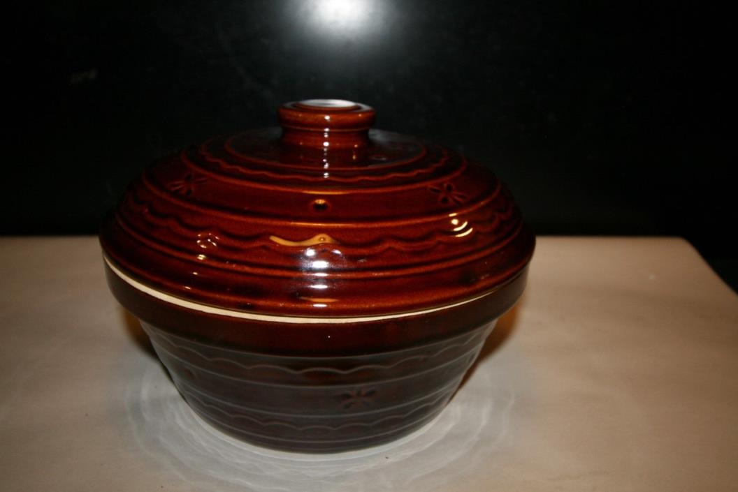 Antique Marcrest Covered Stoneware Oven Proff Dish USA Mint Brown Bowl Cassarole