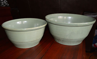 Pair of Nesting Green Batter Dough Bowls