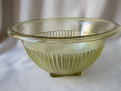 VINTAGE AMBER COLORED LARGE RIBBED  MIXING BOWL WITH SQUARE BOTTOM