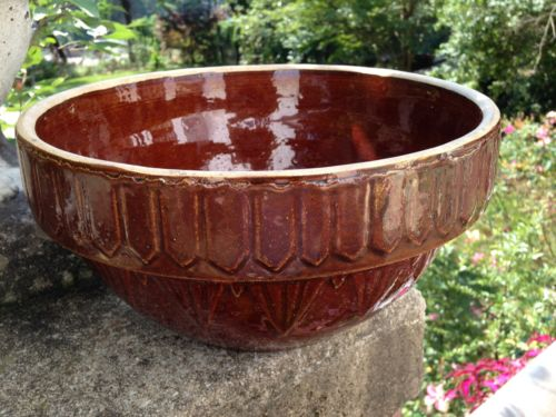 Large Heavy Brown Crock Mixing Bowl