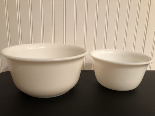"2 Vtg White Milk Glass GE 7.5"" and 9.5"" Stand  Mixing  Bowls Textured Exterior"