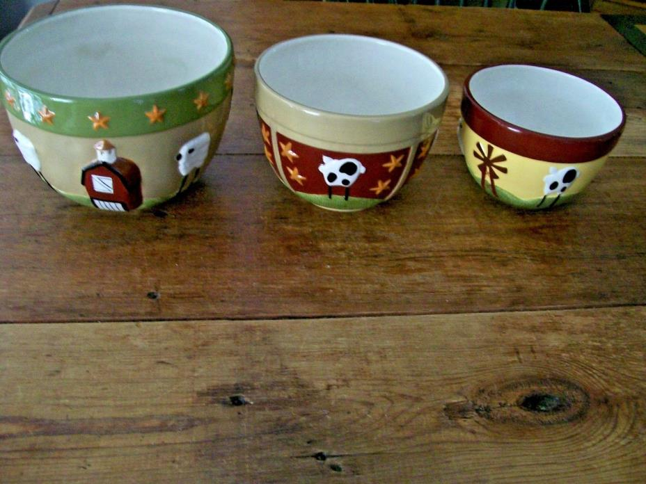 3 Nesting Bowls CUTE FARM/COUNTRY Kitchen design -THT Micro/Dishwasher safe 2007