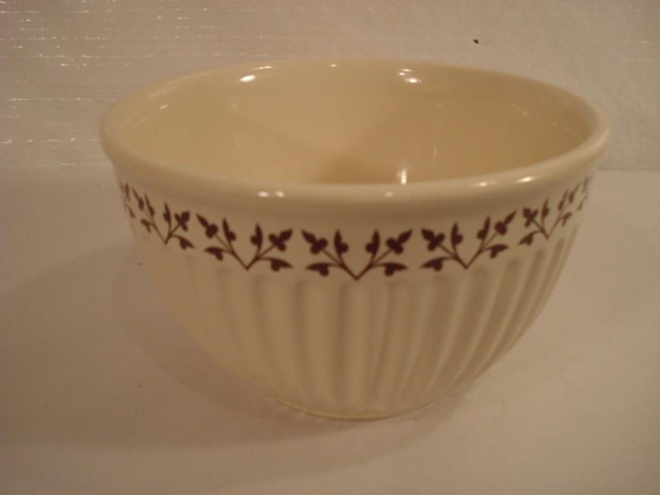 Paula Deen Pottery 1 Qt. Bowl Ribbed w/ Brown Leaves