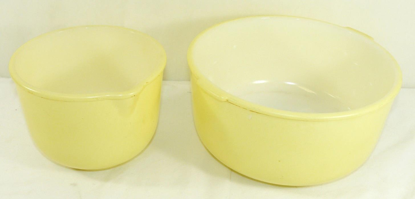VTG Glasbake for Sunbeam Stand Mixer Bowls Large Small Spout Yellow 19CJ 20CJ