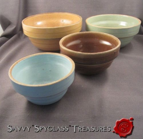 Nesting Set of 4 Western Stoneware Pottery Mixing Bowls Shoulder Banded Shape
