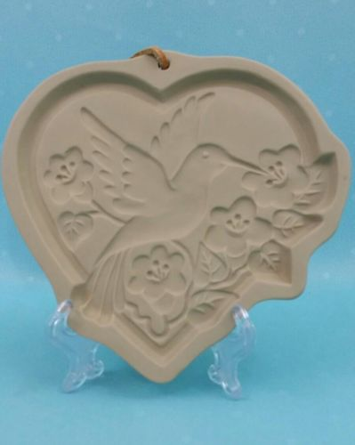Hummingbird Heart Brown Bag Cookie Art Ceramic Mold 1992 Hill Design NEW