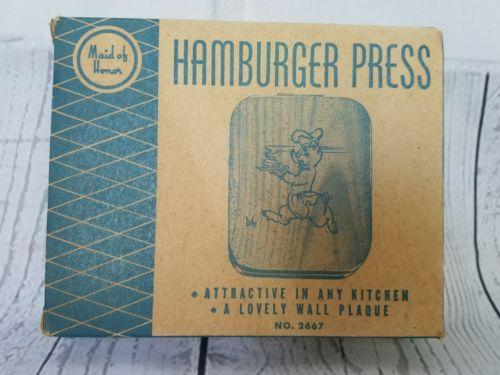 Vtg Mid-Century Sears Maid of Honor Wooden Hamburger Press