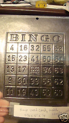 VINTAGE APOLLO CANDY MOLD FOR ONE SOLID BINGO CARD MOLD..5 3/8'' X 5'' X 1/4''