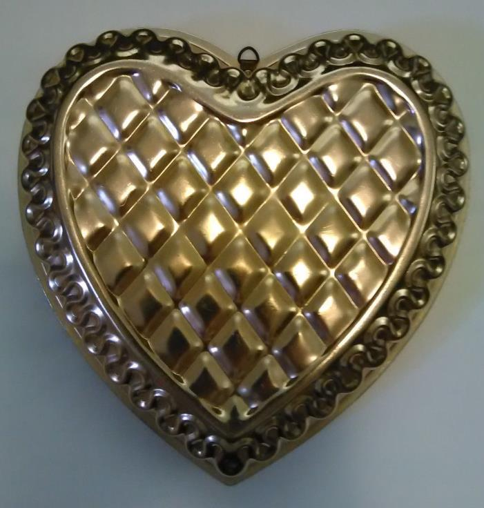 Copper Color Aluminum Large Quilted Heart Shape Mold Wall Decor