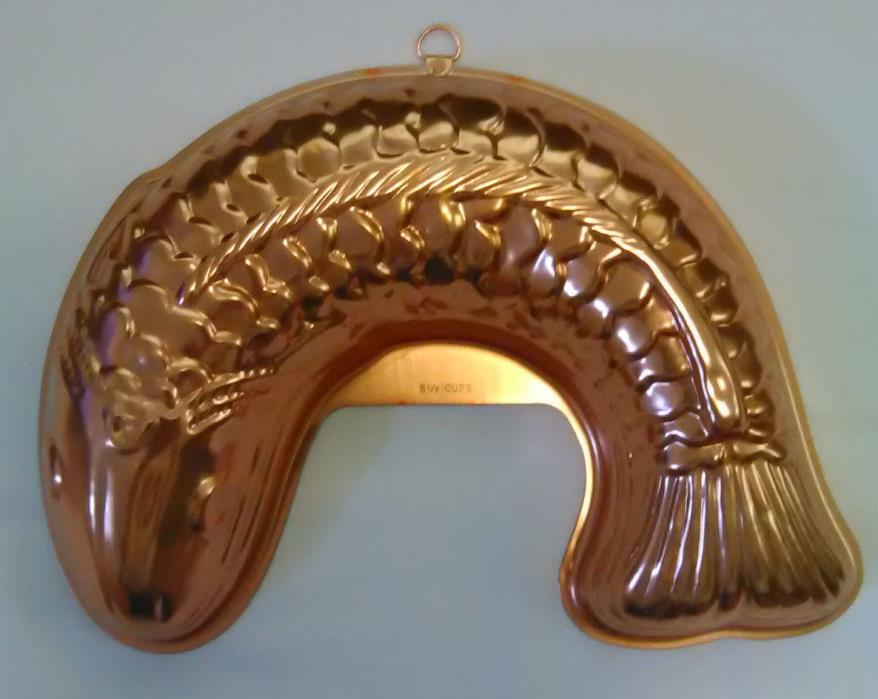 Vintage Copper Salmon Fish ~ 5 1/2 Cup Jello Mold 11
