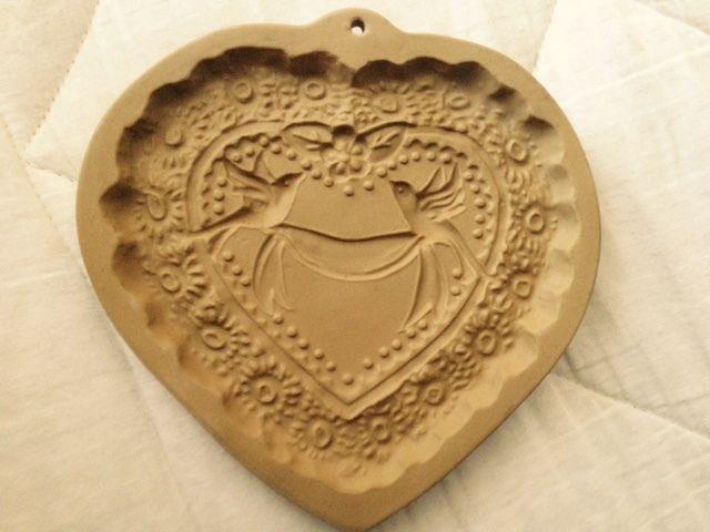 Vintage Heart Birds Brown Bag Cookie Art Mold 1985