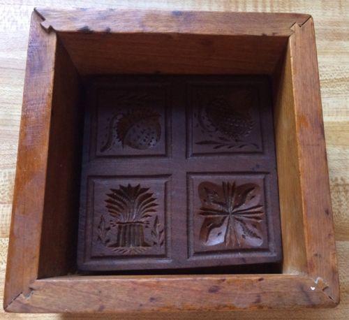 Antique Wooden Butter Mold Fancy 4 Design 1 Pound Block StyleExcellent Condition