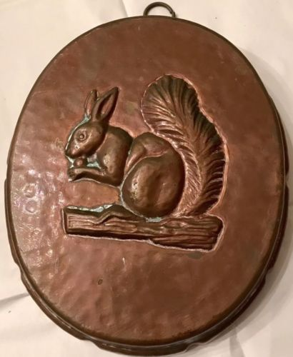 Birth-Gramm Copper Mold Squirrel With Nut Tin Lined Switzerland Patina Hammered
