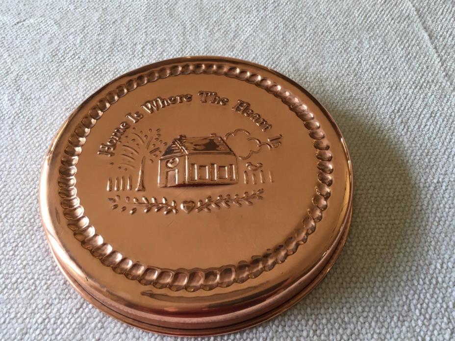 Copper Mold Tin Lined Round 'Home Is Where the Heart Is' Brass Trim