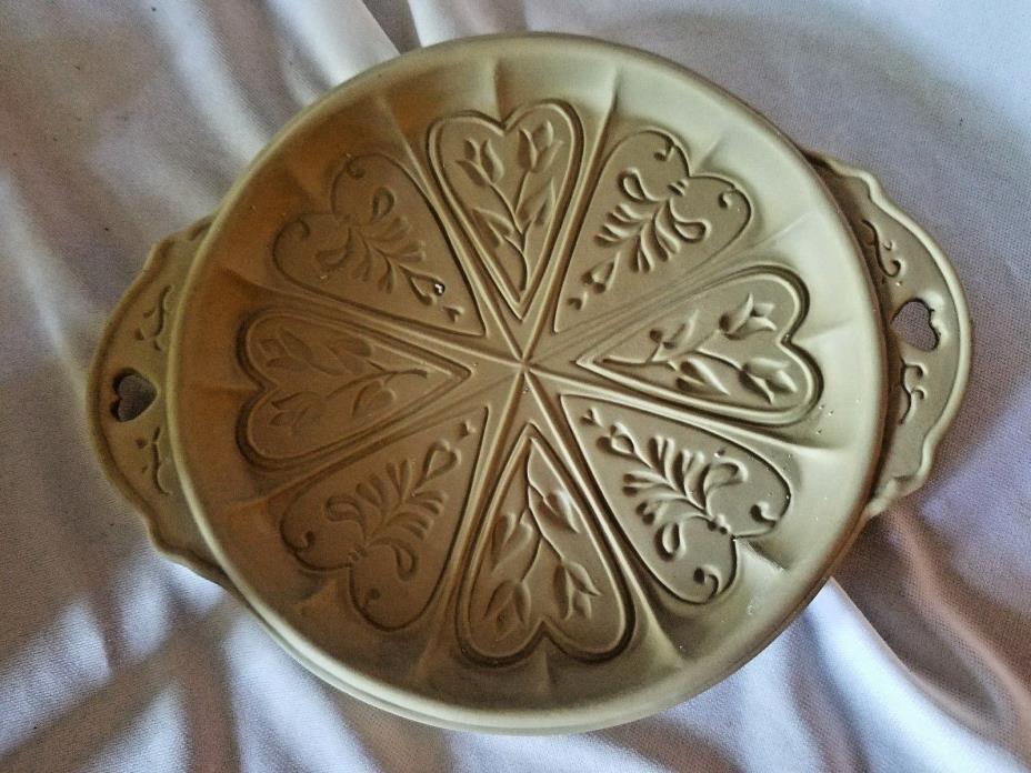 Brown Bag Cookie Art Mold Round Shortbread Hearts & Tulip Flower Stoneware 1988