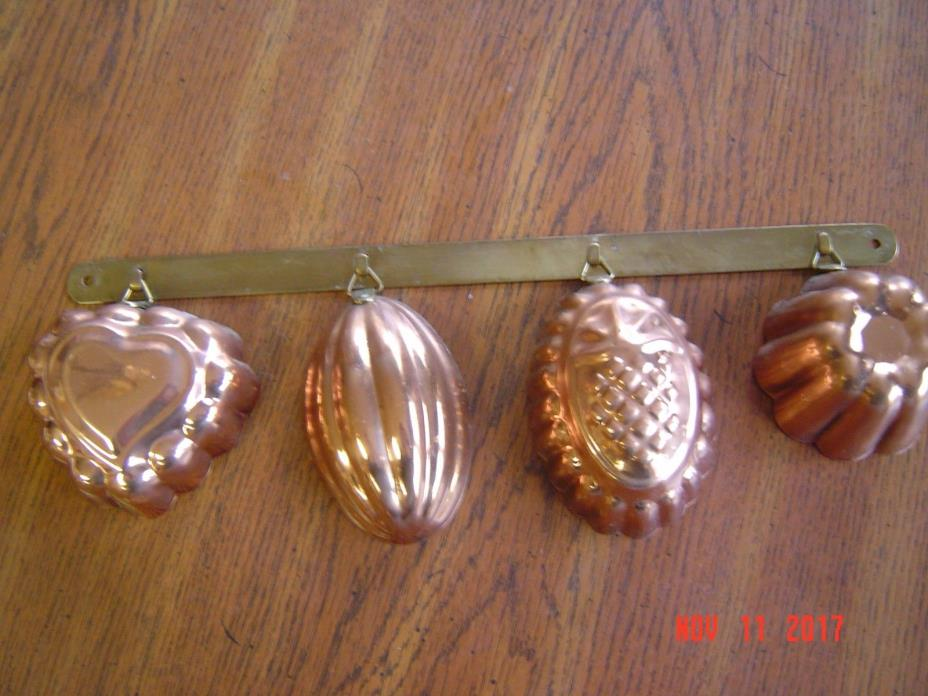 Vintage Copper Kitchen Molds and Hanger