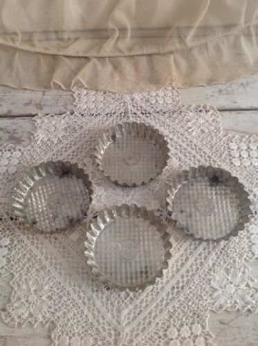 Set of 4 Antique French Tin Pastry Molds