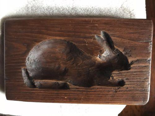 Vintage Antique Wood Rabbit Mold
