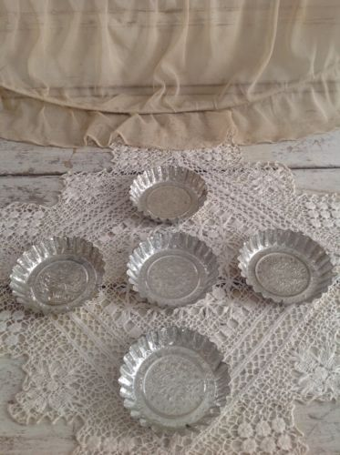 Set of 5 Antique French Tin Pastry Molds