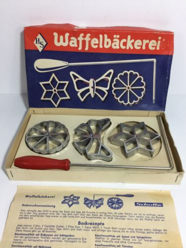 Vintage Waffelbackerei Cast Iron Rosette Mold Scandinavian Waffle Iron W.Germany