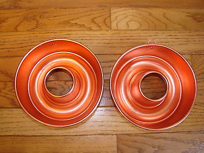Set Of 2 Copper Colored Bundt SHAPED Jello Cake MOLDS 3 Cups Wall Decoration