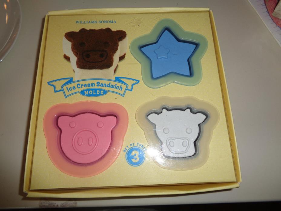 WILLIAMS SONOMA ICE CREAM SANDWICH MOLDS STAR COW PIG FARM ANIMALS RECIPES 3 NIB
