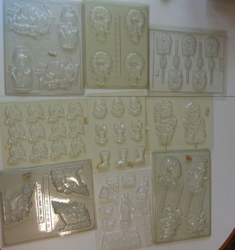 large Christmas holiday chocolate candy molds santa snowmen pops