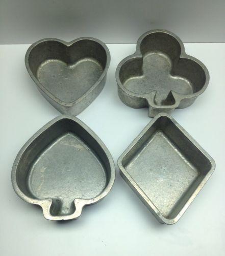 Vtg Renalde Heavy Aluminum Card Suit Cake Mold Set Heart Club Spade Diamond
