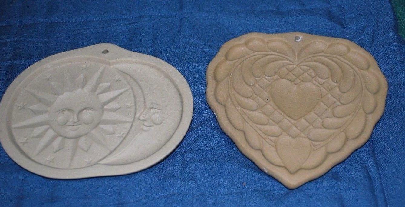 LOT OF 2 Brown Bag Cookie Art Heart Design & Sun and Moon VERY NICE
