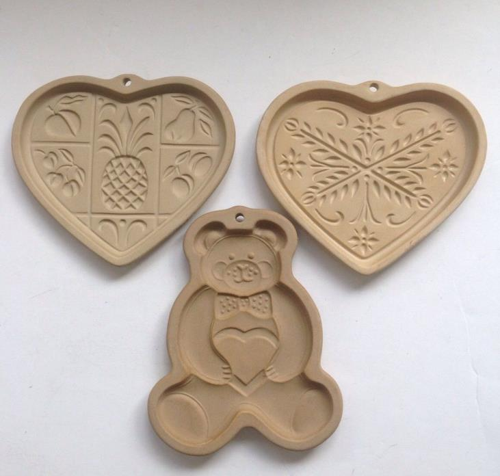 3 Pampered Chef Stoneware Cookie Molds Teddy Bear, Anniv. & Hospitality Hearts